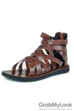 Leather Straps Boots Ankle Mens Brown Roman Gladiator Sandals Shoes