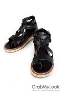 Leather Straps Black High Top Mens Knit Trim Roman Gladiator Sandals