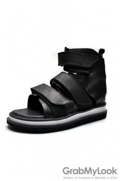 Leather Straps High Top Black Thick Sole Mens Roman Gladiator Sneakers Sandals