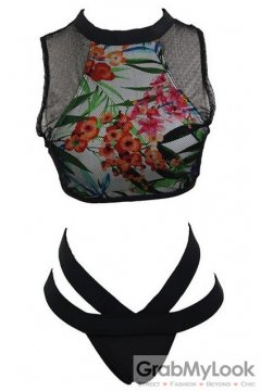 Floral Flower Net Halter Neck Sexy Two Piece Bikini Swimwear Swimsuits