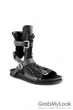 Leather Straps Boots Ankle Mens Black Roman Gladiator Sandals Shoes