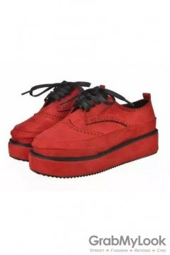 Suede Embroidery Vintage Lace Up Red Platforms Creepers Oxfords Shoes