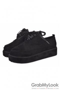 Suede Embroidery Vintage Lace Up Black Platforms Creepers Oxfords Shoes