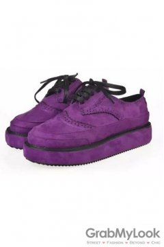 Suede Embroidery Vintage Lace Up Purple Platforms Creepers Oxfords Shoes