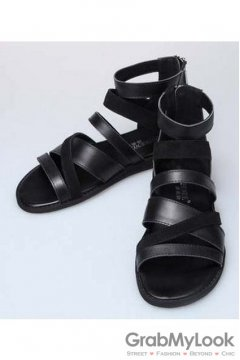Multiple Thin Leather Suede Straps Black High Top Mens Roman Gladiator Sandals Shoes