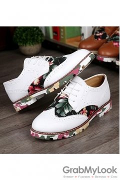 Vintage Baroque White Dappermen Flower Lace Up Floral Sole Mens Oxfords Shoes