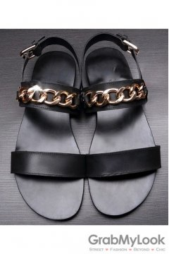 Black Gold Metal Chain Punk Rock Mens Roman Gladiator Sandals Shoes