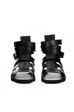 Leather Straps Black High Top Mens Slingback Roman Gladiator Sandals