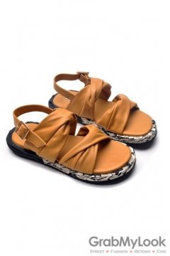 Leather Camel Brown Straps Camouflage Thick Sole Slingback Mens Roman Gladiator Sandals