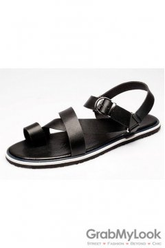 Leather Black Straps Slingback Mens Roman Gladiator Sandals