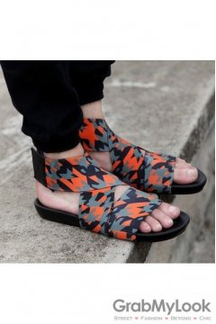 Orange Camouflage Military Army Elastic Band Cross Straps White Mens Gladiator Roman Sandals Shoes