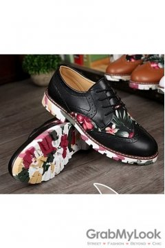 Vintage Baroque Dappermen Flower Lace Up Floral Sole Mens Oxfords Shoes