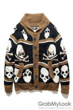 Brown Black Skull Old School Vintage Long Sleeves Men Blouse Sweater Cardigan