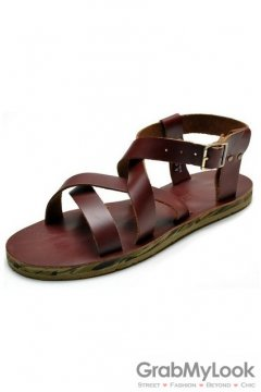 Leather Brown Straps Camouflage Sole Slingback Mens Roman Gladiator Sandals