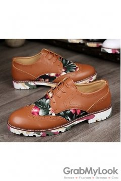 Vintage Baroque Brown Dappermen Flower Lace Up Floral Sole Mens Oxfords Shoes