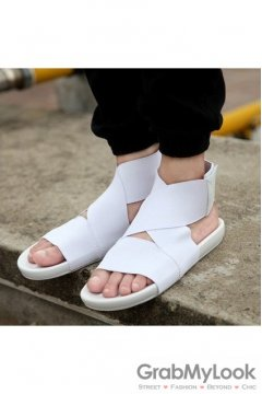 White Elastic Band Cross Straps White Mens Gladiator Roman Sandals Shoes