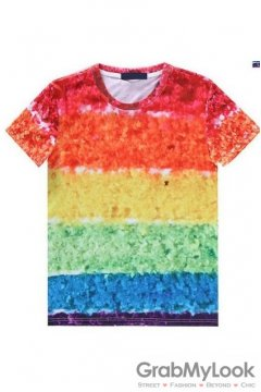Colorful Rainbow Cake Round Neck Mens Short Sleeves T-Shirt