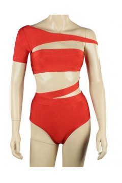 Bandage Fashionable Red Asymmetric Off Shouler Sexy Bikini Swimwear Swimsuits