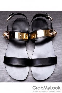 Black Gold Metal Lock Plate Punk Rock Mens Roman Gladiator Sandals Shoes