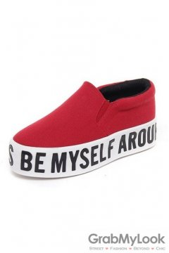 BE MYSELF AROUND White Thick Sole Loafers Red Women Platforms Shoes Sneakers Flats