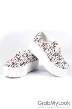 White Floral Lace Up Platforms Creepers Oxfords Shoes