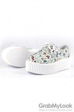 White Blue Floral Lace Up Platforms Creepers Oxfords Shoes