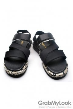 Leather Black Straps Camouflage Thick Sole Slingback Mens Roman Gladiator Sandals