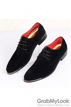 Suede Leather Lace Up Black Point Head Oxfords Mens Shoes
