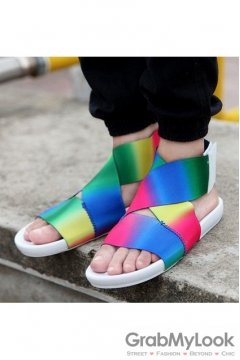 Rainbow Elastic Band Cross Straps White Mens Gladiator Roman Sandals Shoes