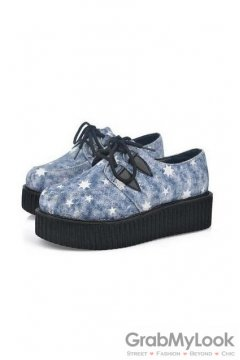 Denim Blue Stars Lace Up Platforms Creepers Oxfords Shoes