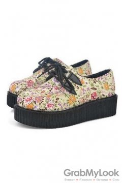 Cream Vintage Floral Print Lace Up Platforms Creepers Oxfords Shoes