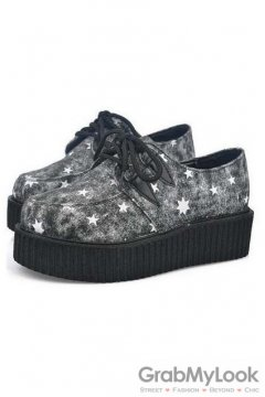 Denim Black Stars Lace Up Platforms Creepers Oxfords Shoes
