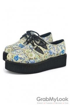 Blue Vintage Floral Print Lace Up Platforms Creepers Oxfords Shoes