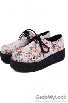 White Vintage Rose Floral Print Lace Up Platforms Creepers Oxfords Shoes