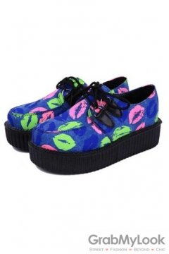 Blue Sexy Lips Print Lace Up Platforms Creepers Oxfords Shoes