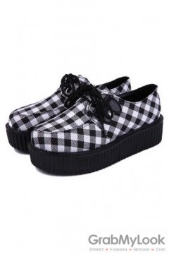 Black White Checkers Print Lace Up Platforms Creepers Oxfords Shoes