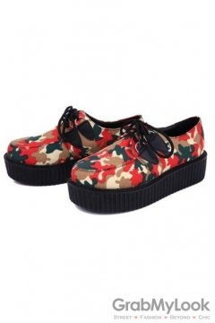 Red Camouflage Military Army Print Lace Up Platforms Creepers Oxfords Shoes
