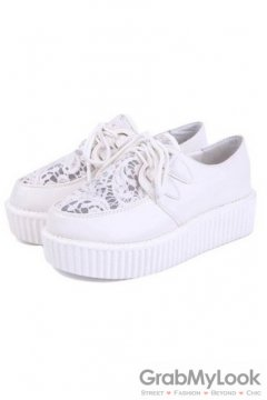 White Lace Sheer Lace Up Platforms Creepers Oxfords Shoes