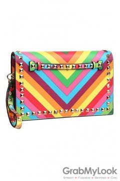 Rainbow Colorful Stripes Metal Studs Rectangular Evening Oversized Envelope Clutch Purse