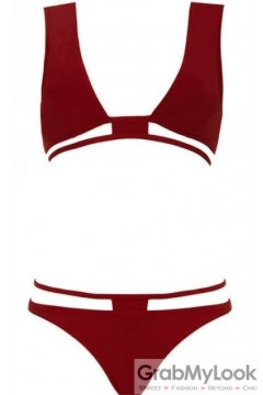 Red Burgandy Sexy Two Piece Bikini Swimwear Swimsuits