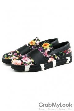 Flower Floral Vintage Black White Sole Mens Loafers Sneakers Shoes