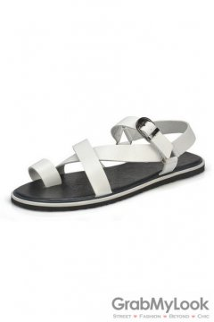 Leather White Straps Slingback Mens Roman Gladiator Sandals