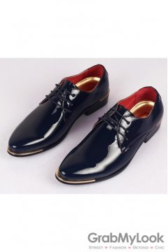 Patent Leather Lace Up Shinny Navy Blue Point Head Oxfords Mens Shoes
