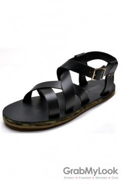 Leather Black Straps Camouflage Sole Slingback Mens Roman Gladiator Sandals