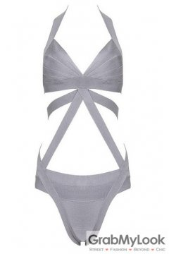 Bandage Fashionable Grey Stripes Sexy Two Piece Bikini Swimwear Swimsuits