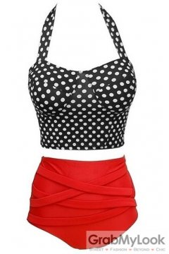 Black Polkadot Red High Waist Halter Neck Sexy Two Piece Bikini Swimwear Swimsuits
