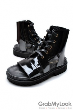 Patent Leather Boots Ankle Mens Sneakers Roman Gladiator Sandals Shoes