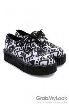 White Black Vintage Pattern Lace Up Platforms Creepers Oxfords Shoes