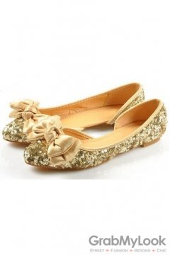 Sequins Glittering Sparkle Bow Gold Point Head Loafers Ballets Flats Ballerina Shoes