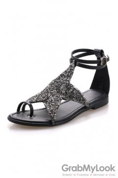 Star Glittering Embellished Ankle Strap Glamourous Black Flats Sandals Shoes